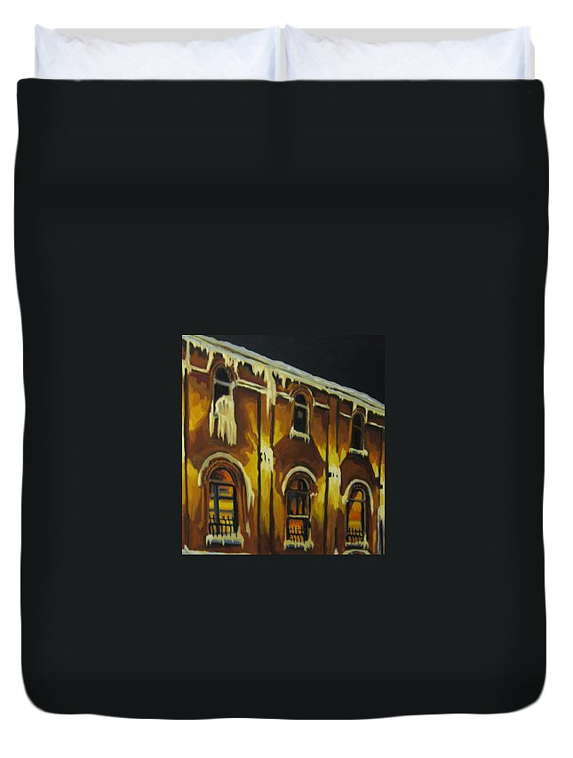 Urban Landscapes Duvet Cover featuring the painting Halifax Ale House In Ice by John Malone