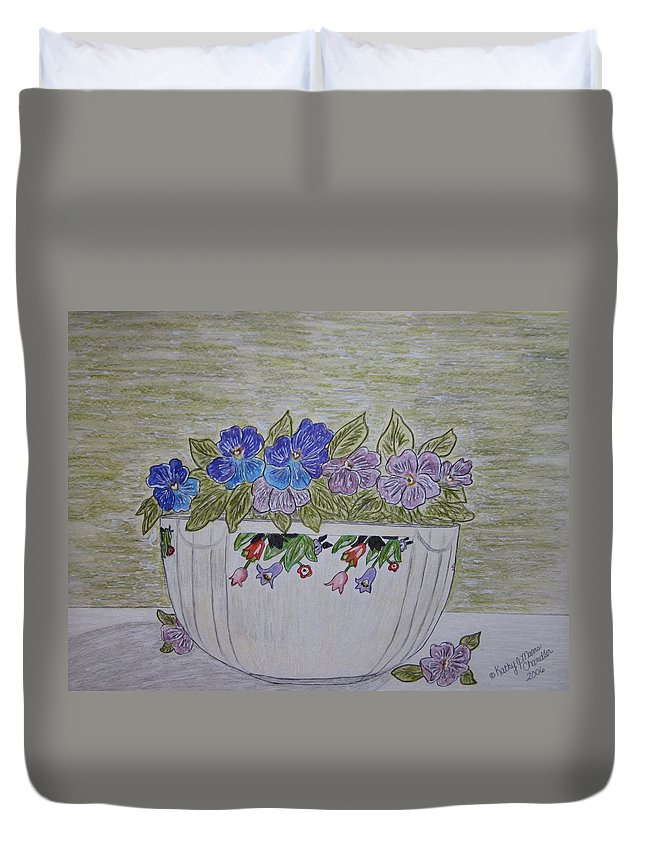 Hall China Duvet Cover featuring the painting Hall China Crocus Bowl With Violets by Kathy Marrs Chandler