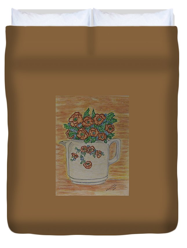 Hall China Duvet Cover featuring the painting Hall China Orange Poppy And Poppies by Kathy Marrs Chandler