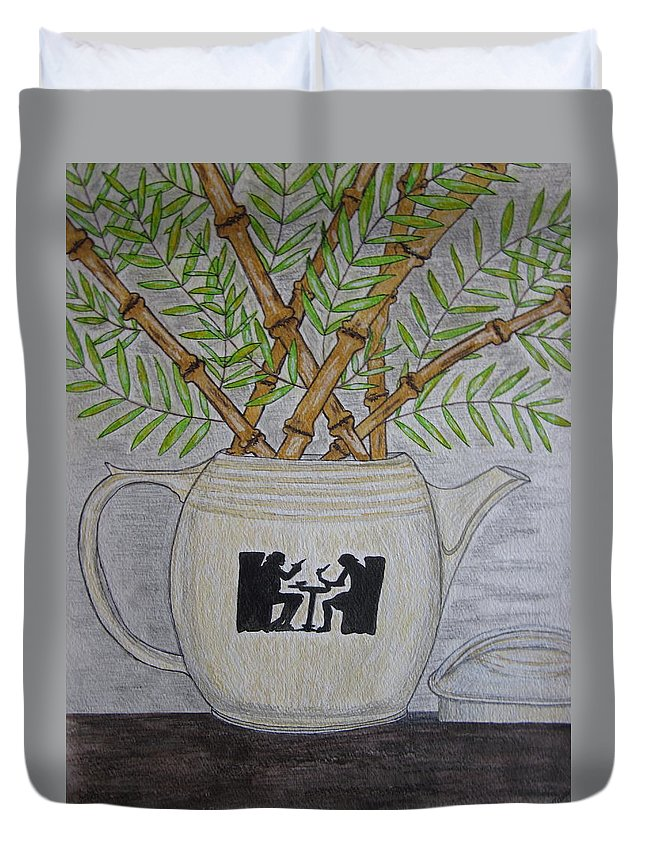 Hall China Duvet Cover featuring the painting Hall China Silhouette Pitcher With Bamboo by Kathy Marrs Chandler