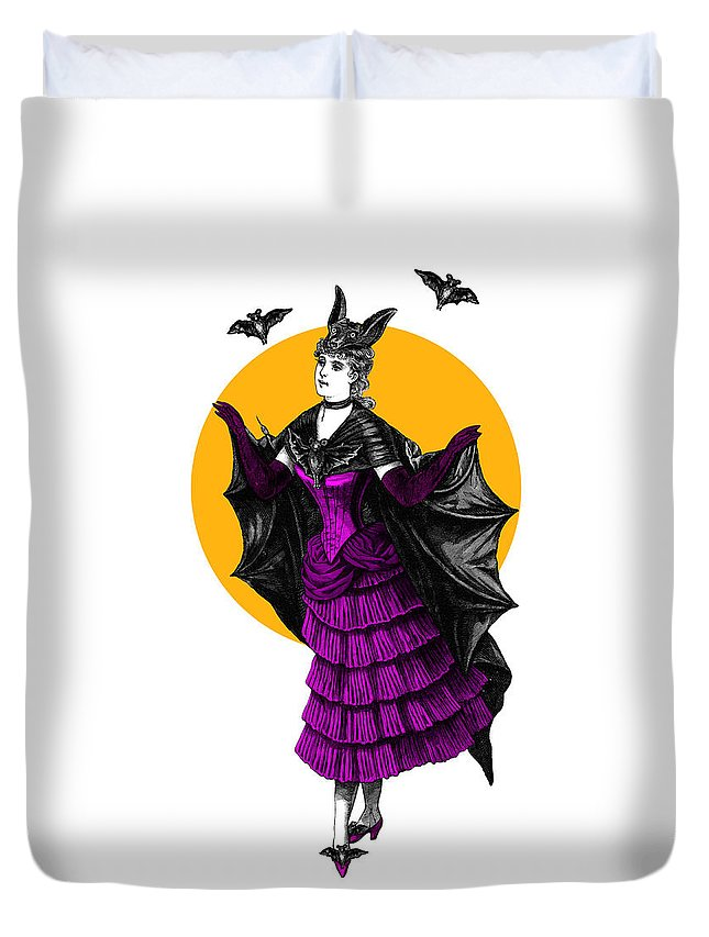 Halloween Duvet Cover featuring the digital art Halloween Batgirl by Madame Memento