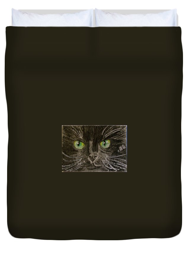 Halloween Duvet Cover featuring the painting Halloween Black Cat I by Kathy Marrs Chandler