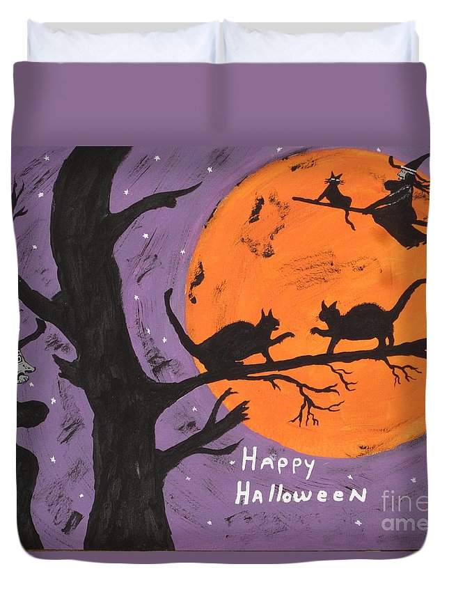 Halloween Duvet Cover featuring the painting Halloween Cat Fight by Jeffrey Koss