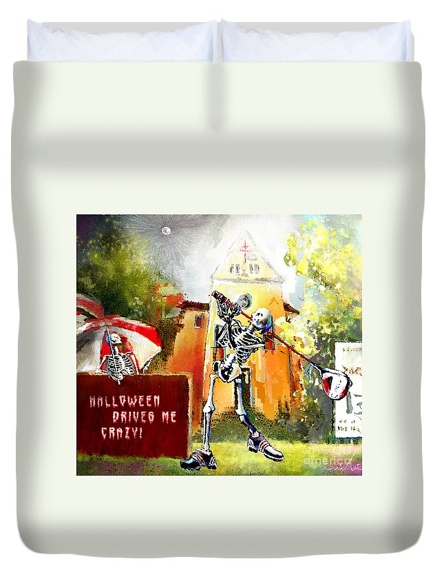 Fun Duvet Cover featuring the painting Halloween Drives Me Crazy by Miki De Goodaboom
