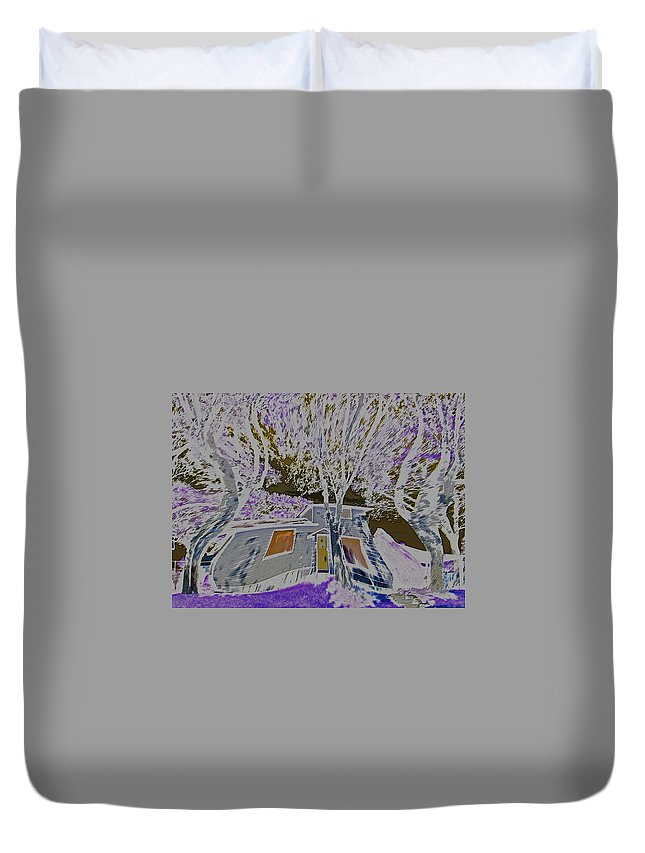 Abstract Duvet Cover featuring the digital art Halloween by Lenore Senior