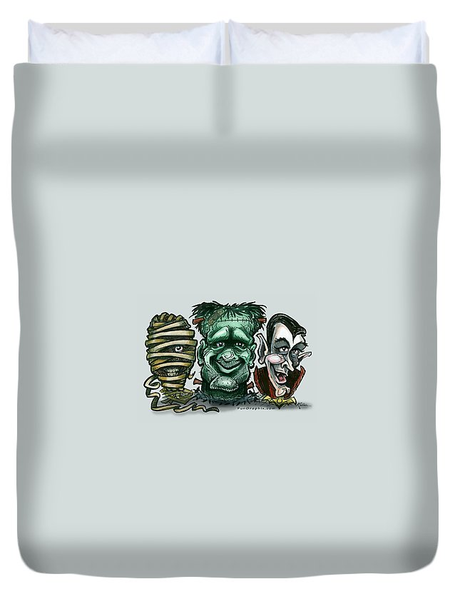 Halloween Duvet Cover featuring the greeting card Halloween Monsters by Kevin Middleton