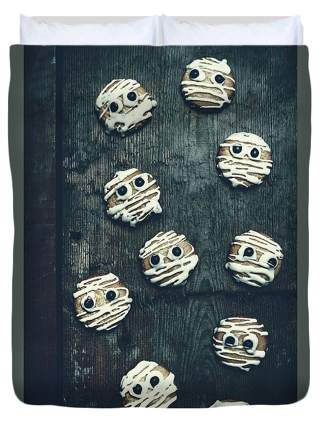 Horror Duvet Cover featuring the photograph Halloween Mummy Cookies by Jorgo Photography - Wall Art Gallery