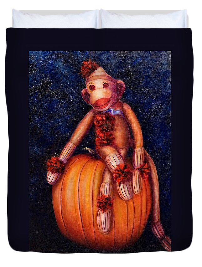 Pumpkin Duvet Cover featuring the painting Halloween by Shannon Grissom