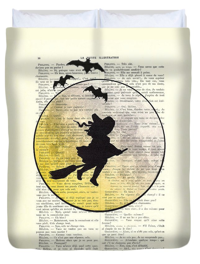 Halloween Duvet Cover featuring the digital art Witch Flying With Full Moon by Madame Memento
