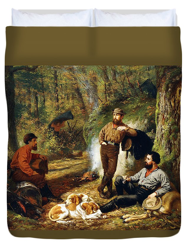 Hunt Duvet Cover featuring the painting Halt On The Portage by Arthur Fitzwilliam Tait