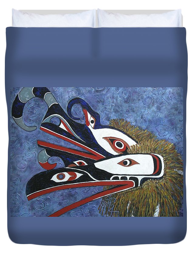 North West Native Duvet Cover featuring the painting Hamatsa Masks by Elaine Booth-Kallweit