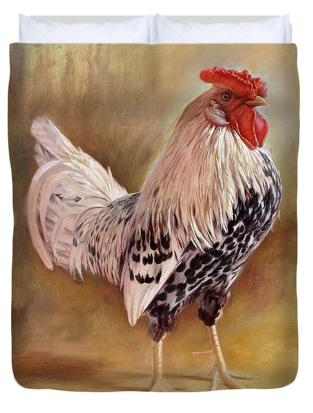 Rooster Duvet Cover featuring the painting Hamburg Rooster by Hans Droog