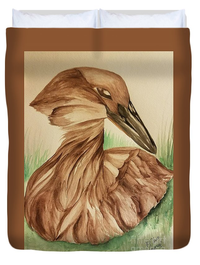 Hamerkop Duvet Cover featuring the painting Hamerkop by Maria Urso