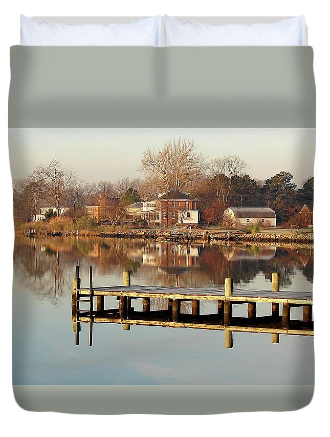 Hampton Duvet Cover featuring the photograph Hampton Virginia Sunrise by Brett Winn