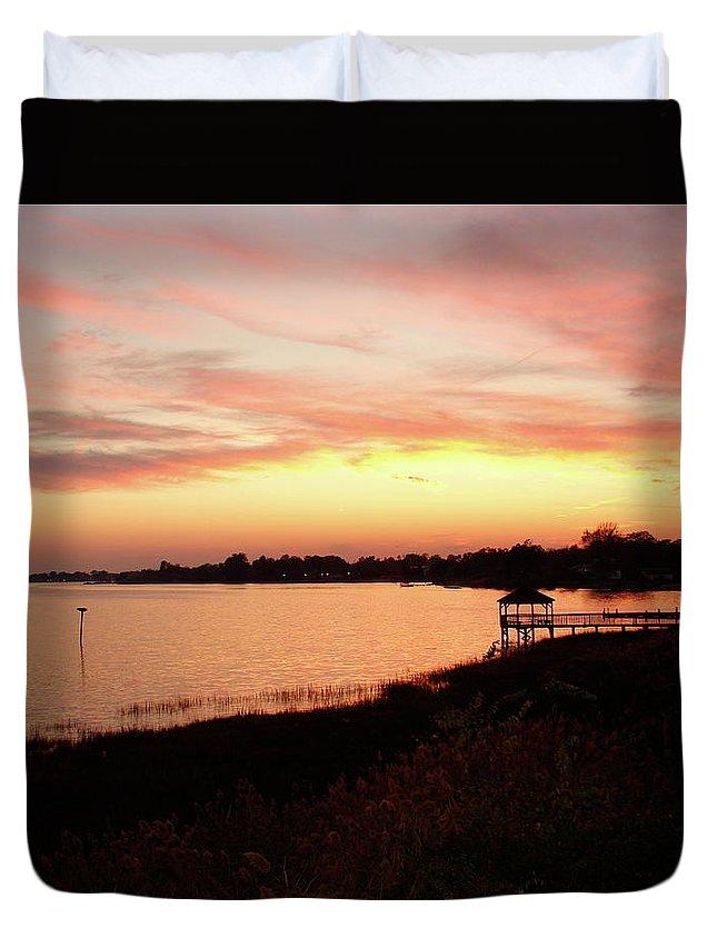 Hampton Duvet Cover featuring the photograph Hampton Virginia Sunset by Brett Winn