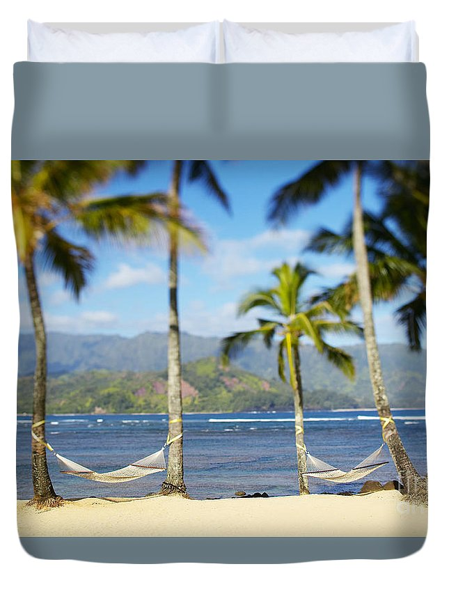 Bay Duvet Cover featuring the photograph Hanalei Bay, Hammock by Kyle Rothenborg - Printscapes