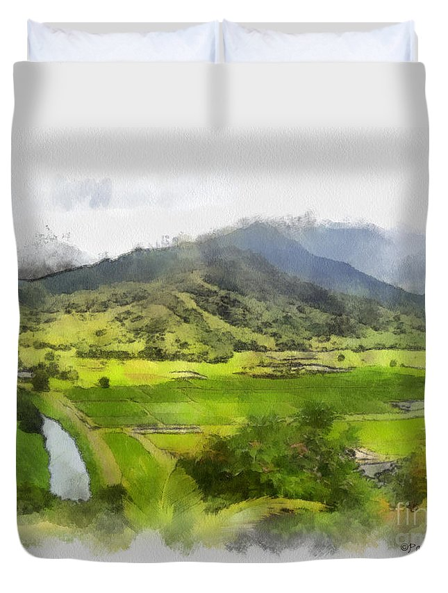 Hanalei Duvet Cover featuring the painting Hanalei Valley by Paulette B Wright