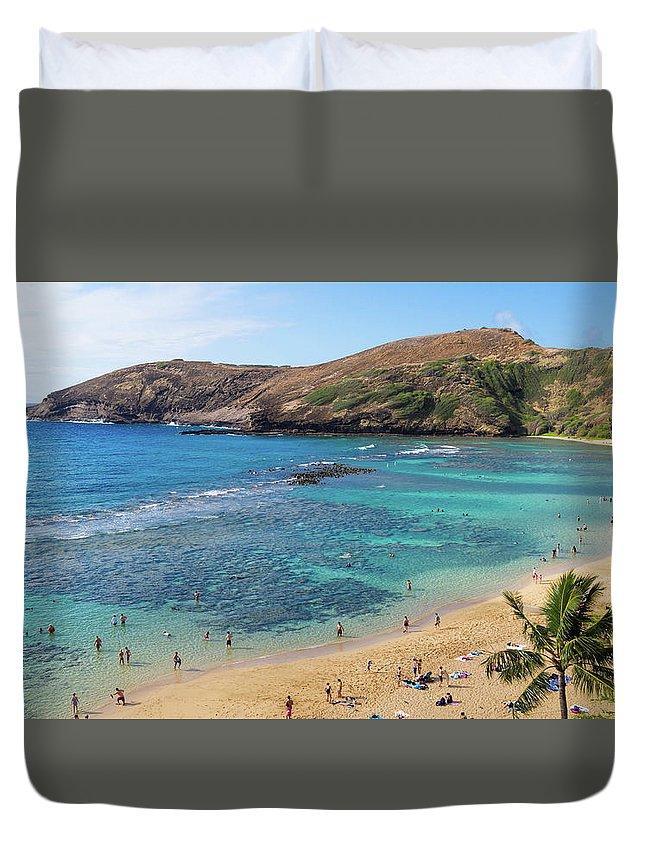 Beach Duvet Cover featuring the photograph Hanauma Bay by G Ward Fahey