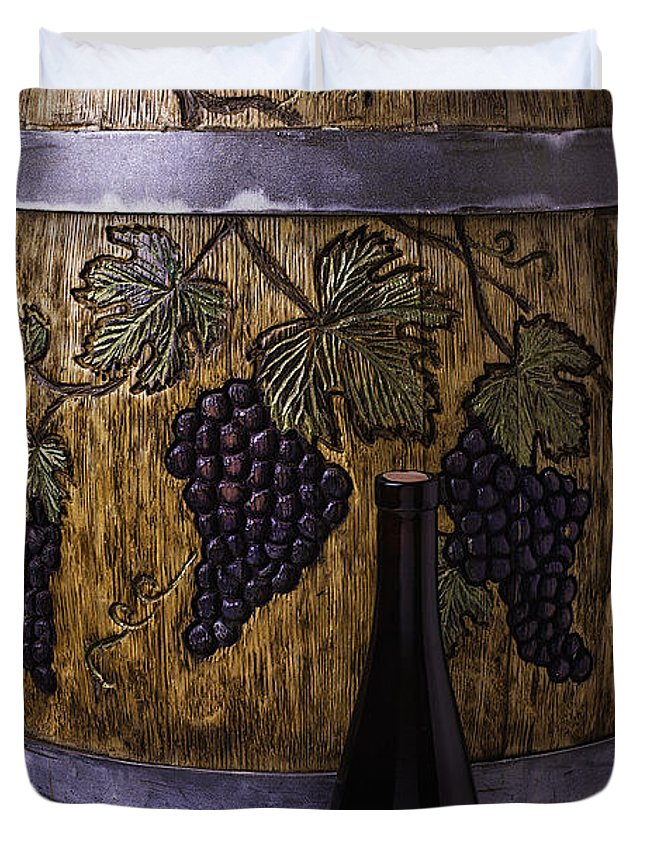 French Duvet Cover featuring the photograph Hand Carved Wine Barrel by Garry Gay