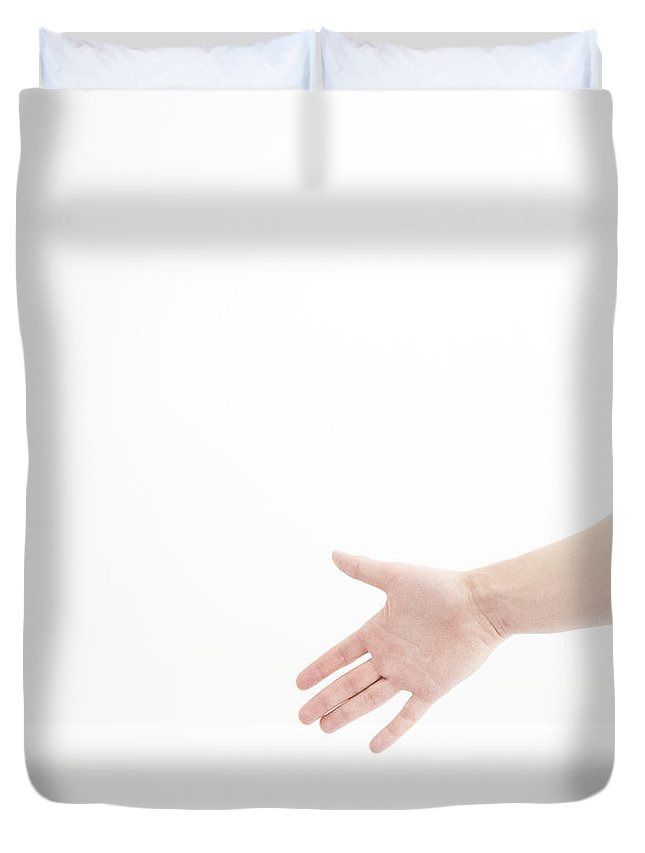 Hand Duvet Cover featuring the photograph Hand by Charles Planeta