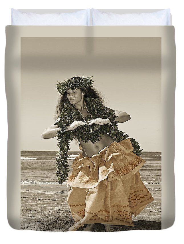 Afternoon Duvet Cover featuring the photograph Hand Colored Hula by Himani - Printscapes
