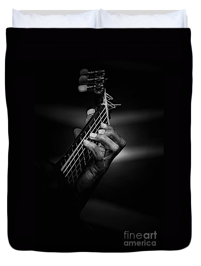 Guitar Duvet Cover featuring the photograph Hand of a guitarist in monochrome by Sheila Smart Fine Art Photography