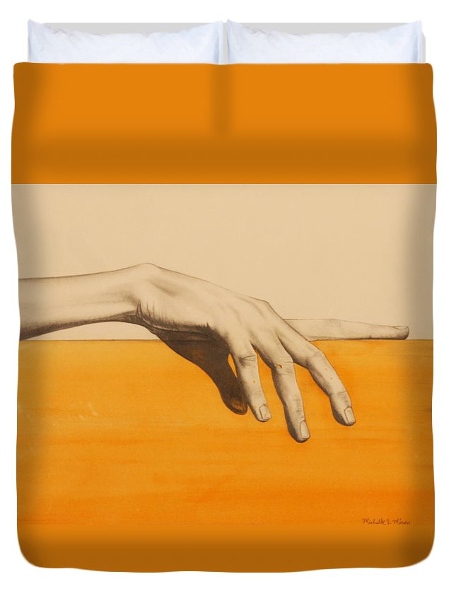 Hand Duvet Cover featuring the painting Hand On Orange by Michelle Miron-Rebbe