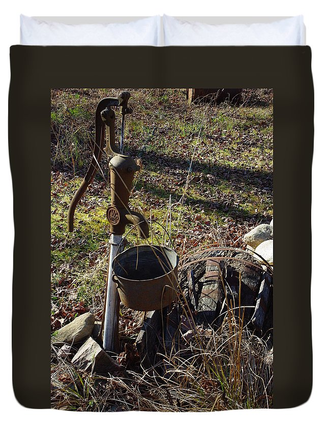 Pump Duvet Cover featuring the photograph Hand Pump In The Fall by Alice Markham