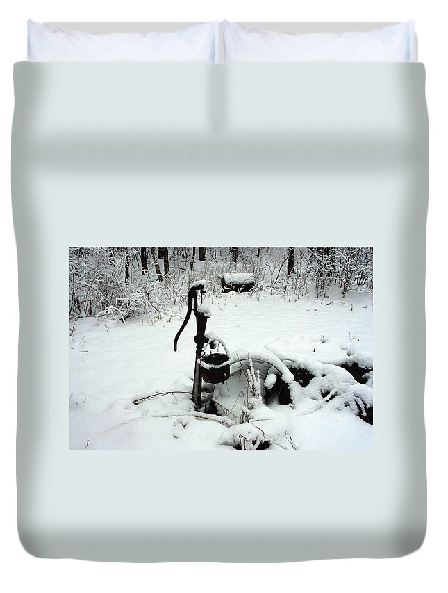 Pump Duvet Cover featuring the photograph Hand Pump In The Winter by Alice Markham