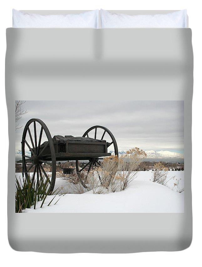 Handcart Duvet Cover featuring the photograph Handcart Monument by Margie Wildblood