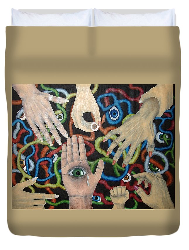Collage Duvet Cover featuring the drawing Hands And Eyes by Nancy Mueller