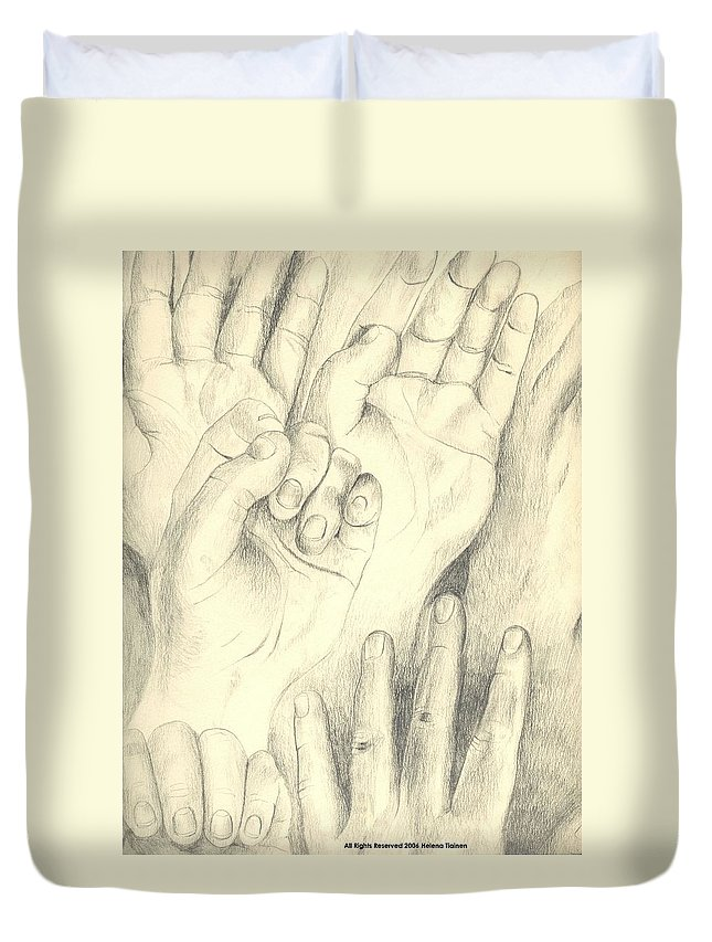 Hands Duvet Cover featuring the drawing Hands by Helena Tiainen