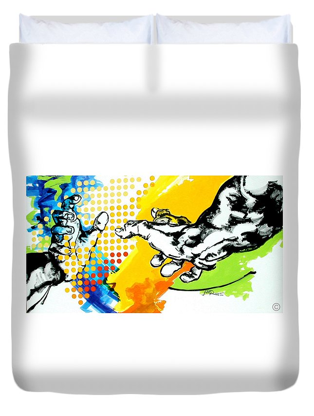 Classic Duvet Cover featuring the painting Hands by Jean Pierre Rousselet