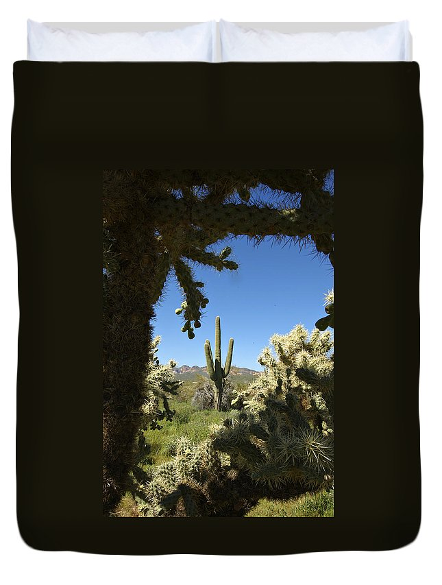 Saguaro Duvet Cover featuring the photograph Hands Up You're Surrounded by Jill Reger