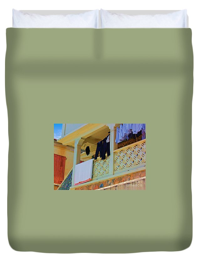 Laundry Duvet Cover featuring the photograph Hang Em High by Debbi Granruth