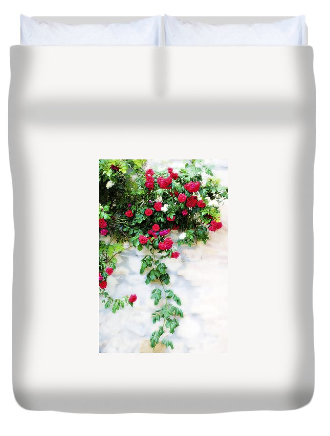 Hang Duvet Cover featuring the photograph Hangin Roses by Marilyn Hunt