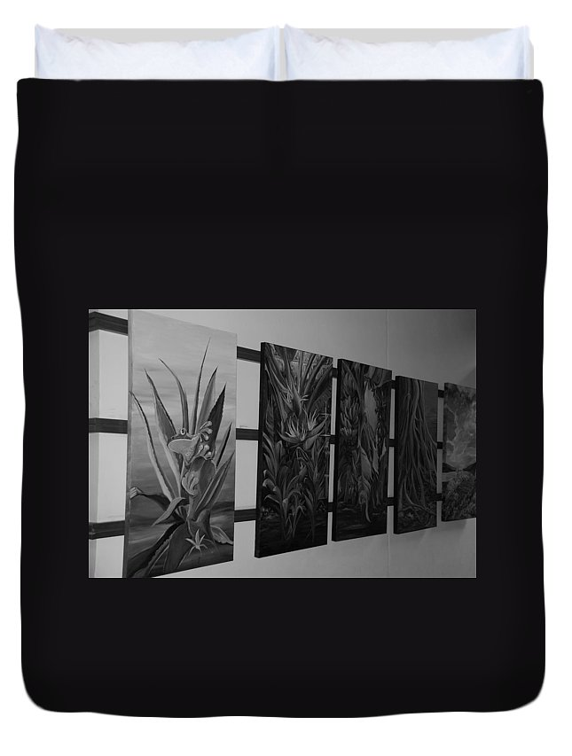 Black And White Duvet Cover featuring the photograph Hanging Art by Rob Hans