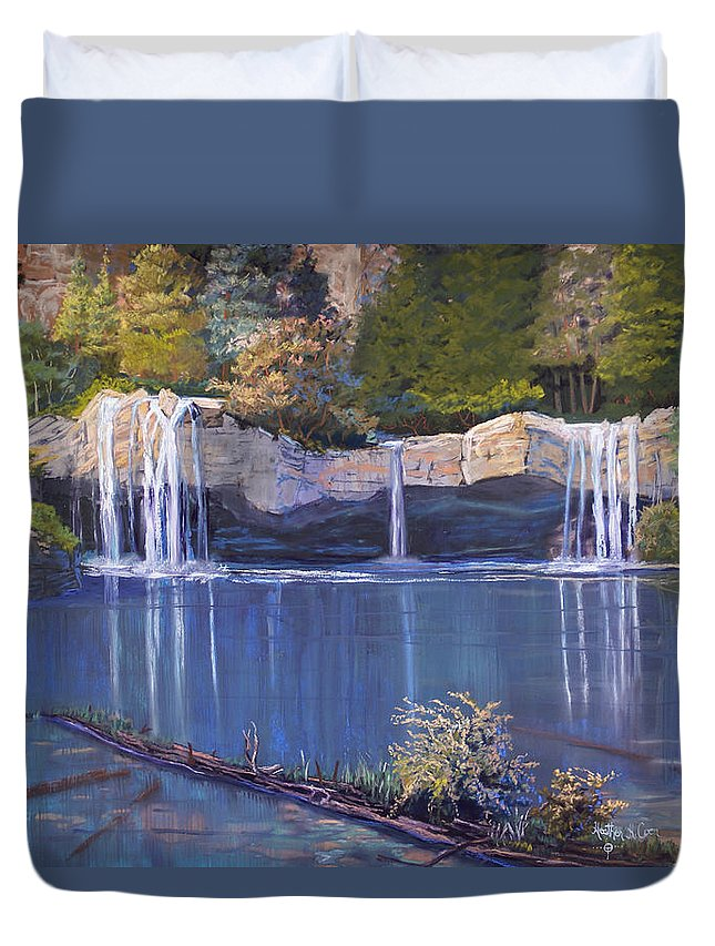 Landscape Duvet Cover featuring the painting Hanging Lake by Heather Coen