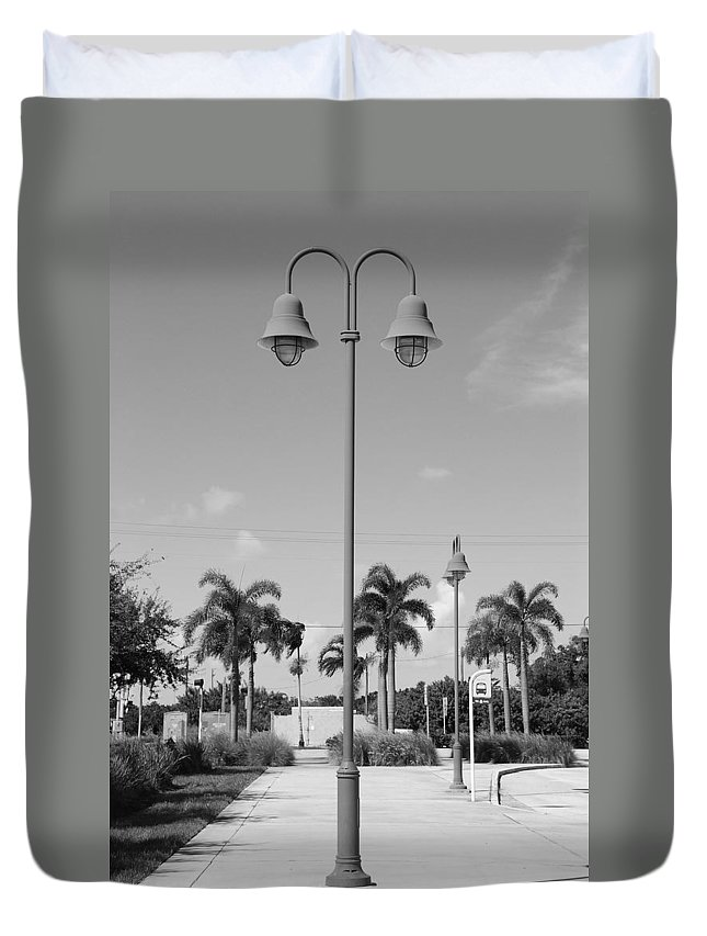Black And White Duvet Cover featuring the photograph Hanging Lamps by Rob Hans