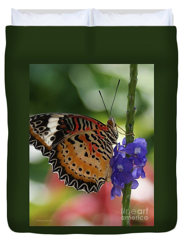 Butterfly Duvet Cover featuring the photograph Hanging On by Shelley Jones