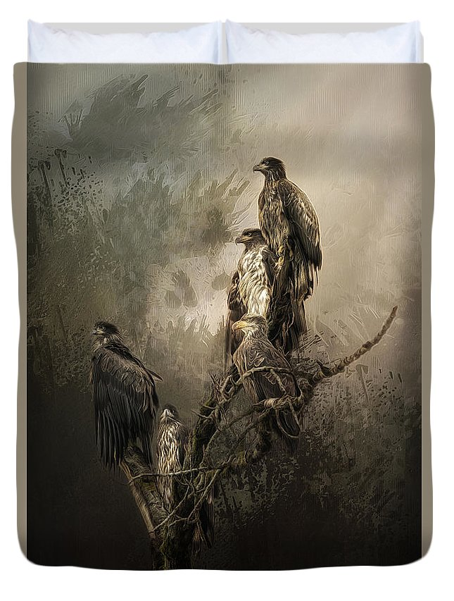Eagles Duvet Cover featuring the photograph Hanging Out by Cindy McDonald