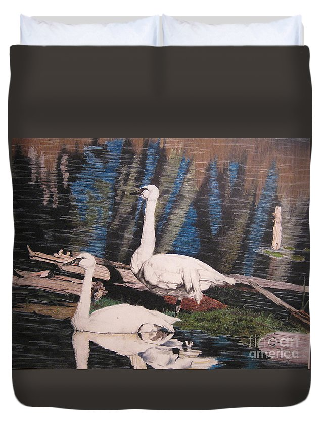 Wildlife Duvet Cover featuring the pastel Hanging Out by John Huntsman