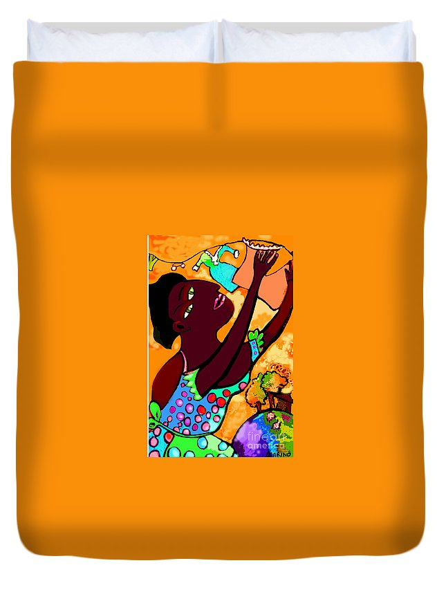 Laundry Duvet Cover featuring the painting Hanging Out The Laundry 2 by Angelina Marino