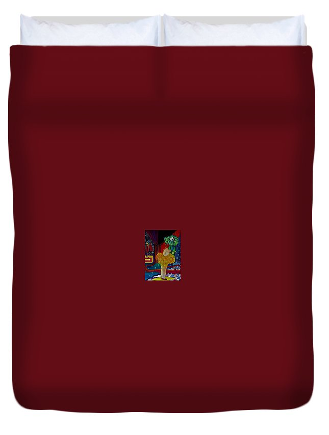 Clowns Duvet Cover featuring the painting Hanging Up The Clown by Carolyn LeGrand