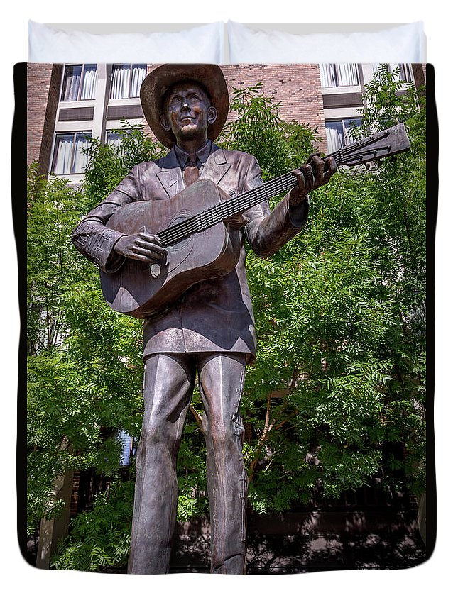 Hank Williams Statue - Montgomery Alabama Duvet Cover featuring the photograph Hank Williams Statue - Montgomery Alabama by Debra Martz