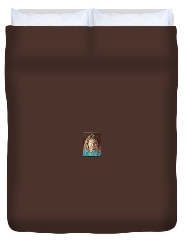 Portrait Duvet Cover featuring the painting Hanna by Rob De Vries