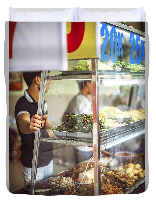 Asia Duvet Cover featuring the photograph Hanoi, Vietnam Vietnamese Street Food Seller Li by Eduardo Huelin