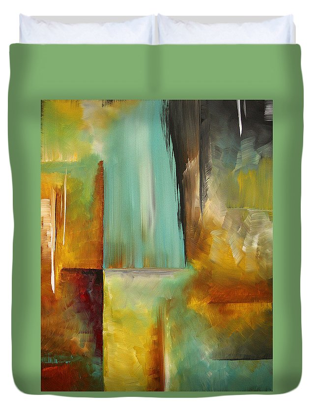 Abstract Duvet Cover featuring the painting Haphazardous By Madart by Megan Duncanson