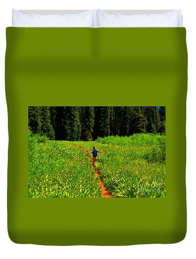 Hiking Duvet Cover featuring the painting Happiness Is A Trail by David Lee Thompson