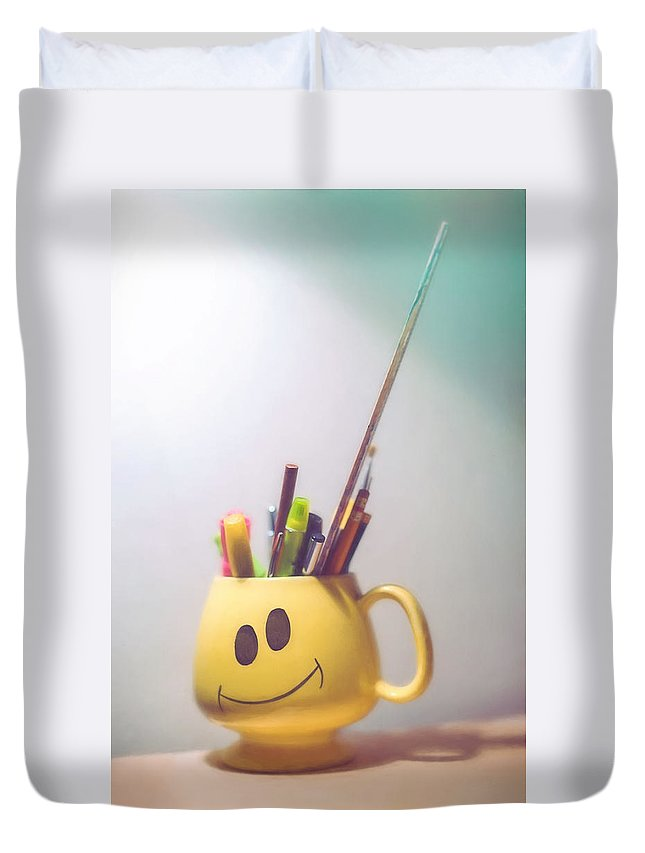 Coffee Cup Duvet Cover featuring the photograph Happiness Is by Scott Norris